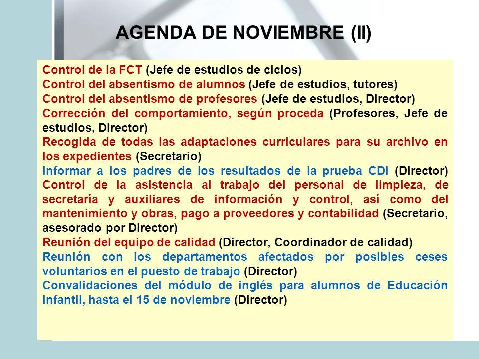 AGENDA DE NOVIEMBRE (II) Control de la FCT (Jefe de estudios de ciclos) Control del absentismo de alumnos (Jefe de estudios, tutores) Control del abse