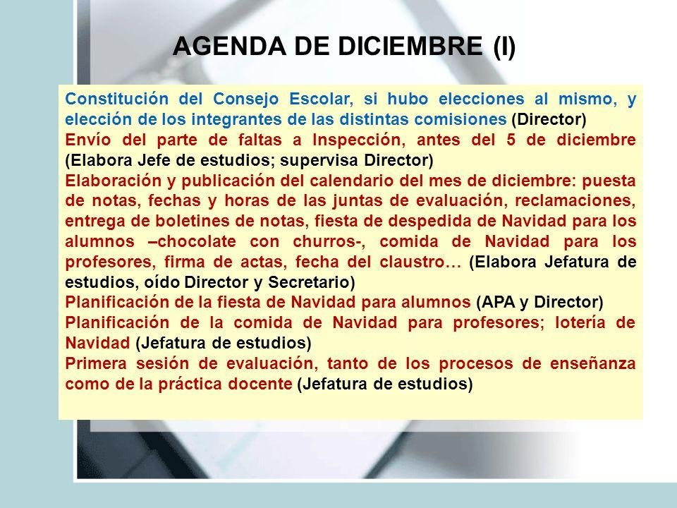 AGENDA DE DICIEMBRE (I) Constitución del Consejo Escolar, si hubo elecciones al mismo, y elección de los integrantes de las distintas comisiones (Dire