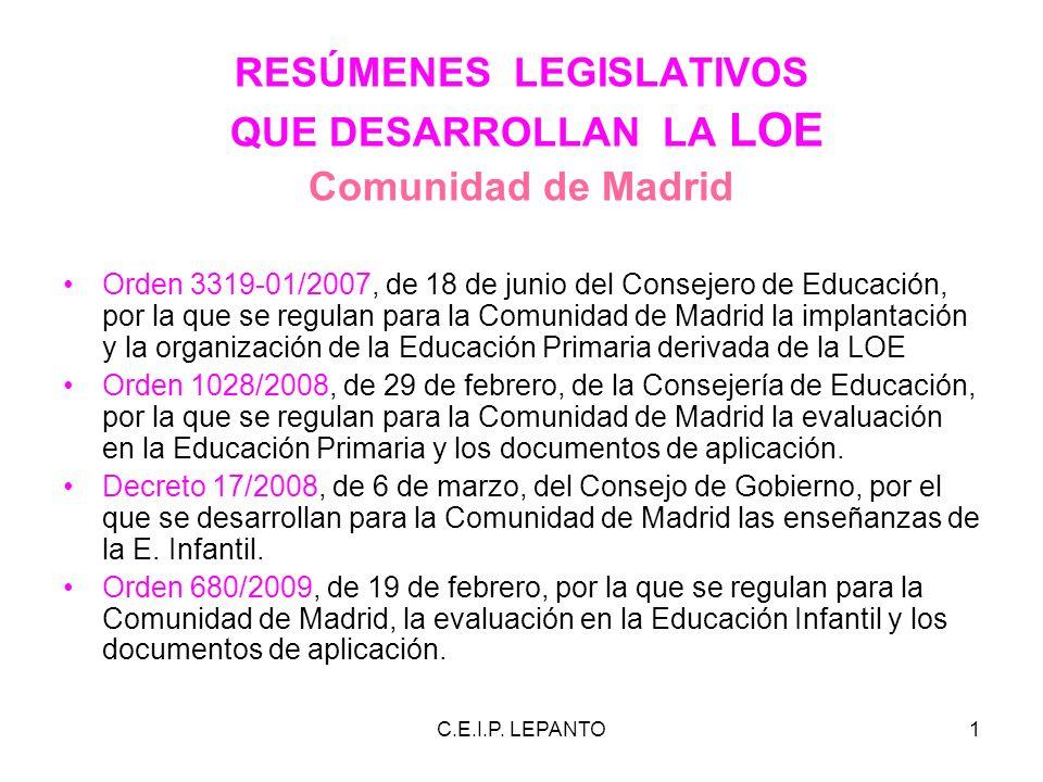 C.E.I.P. LEPANTO1 RESÚMENES LEGISLATIVOS QUE DESARROLLAN LA LOE Comunidad de Madrid Orden 3319-01/2007, de 18 de junio del Consejero de Educación, por