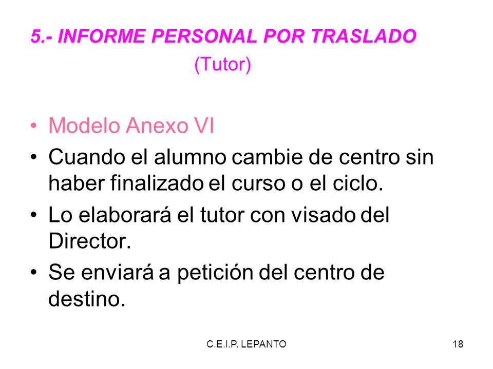 C.E.I.P. LEPANTO18 5.- INFORME PERSONAL POR TRASLADO (Tutor) Modelo Anexo VI Cuando el alumno cambie de centro sin haber finalizado el curso o el cicl