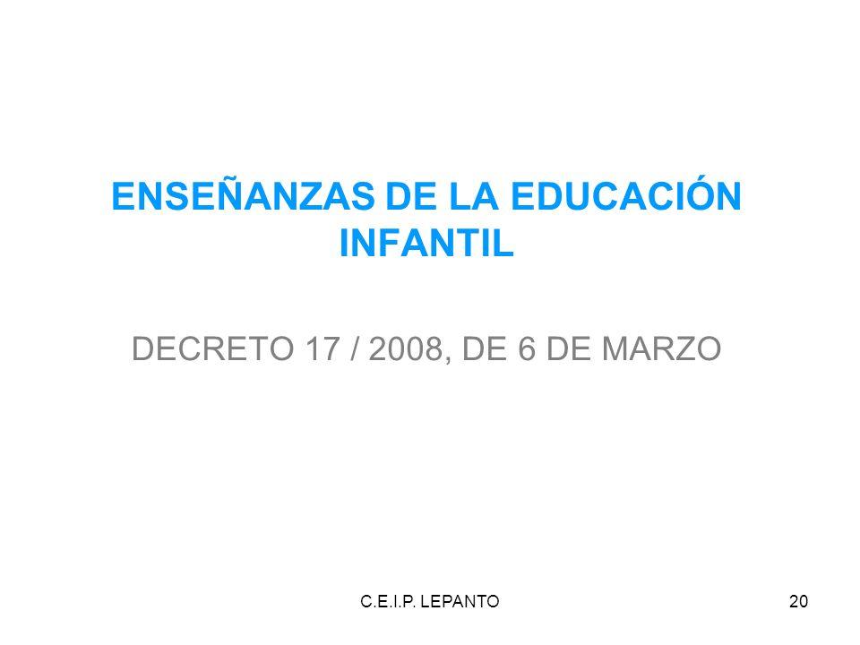 C.E.I.P. LEPANTO20 ENSEÑANZAS DE LA EDUCACIÓN INFANTIL DECRETO 17 / 2008, DE 6 DE MARZO