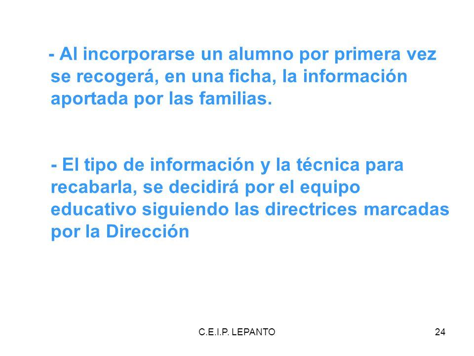 C.E.I.P. LEPANTO24 - Al incorporarse un alumno por primera vez se recogerá, en una ficha, la información aportada por las familias. - El tipo de infor