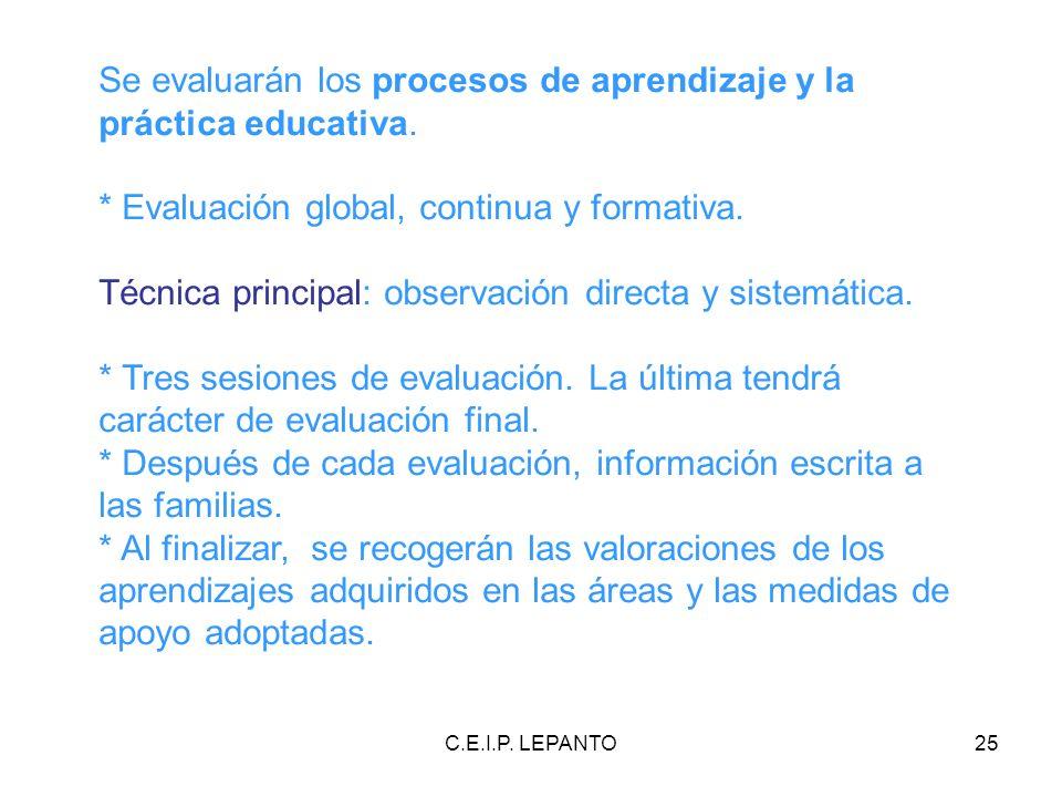 C.E.I.P. LEPANTO25 Se evaluarán los procesos de aprendizaje y la práctica educativa. * Evaluación global, continua y formativa. Técnica principal: obs