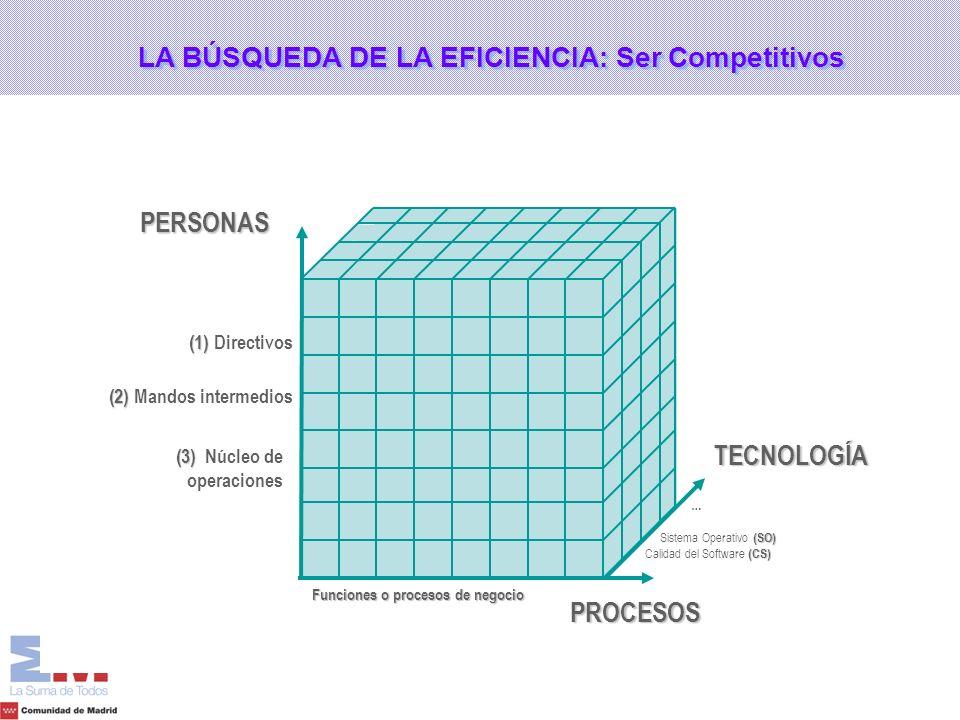 PERSONASPROCESOS TECNOLOGÍA (CS) Calidad del Software (CS) (SO) Sistema Operativo (SO) … Funciones o procesos de negocio (1) (1) Directivos (2) (2) Ma