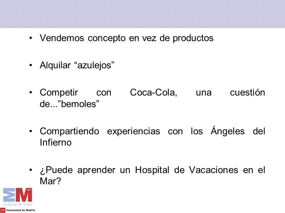 Vendemos concepto en vez de productos Alquilar azulejos Competir con Coca-Cola, una cuestión de...bemoles Compartiendo experiencias con los Ángeles de
