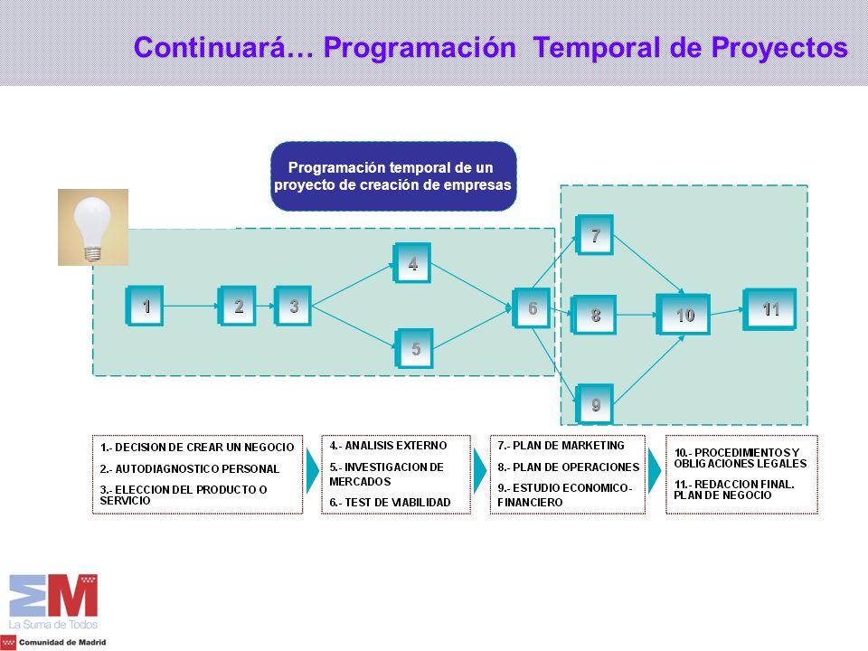 Programación temporal de un proyecto de creación de empresas Continuará… Programación Temporal de Proyectos