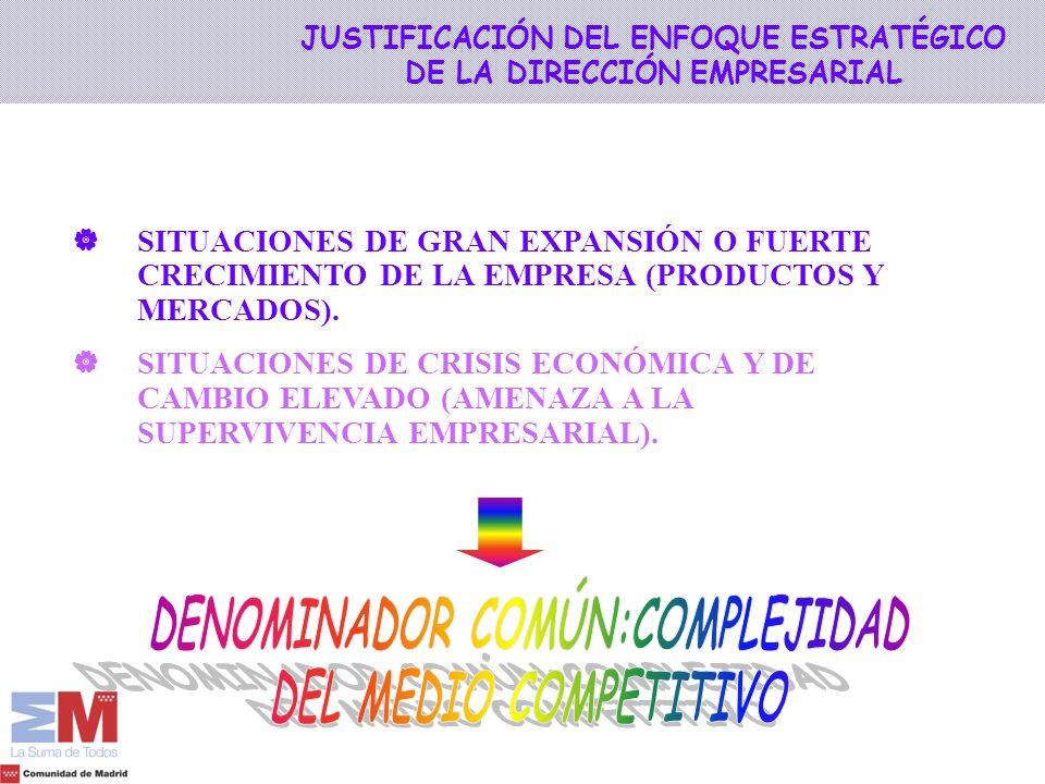 JUSTIFICACIÓN DEL ENFOQUE ESTRATÉGICO DE LA DIRECCIÓN EMPRESARIAL SITUACIONES DE GRAN EXPANSIÓN O FUERTE CRECIMIENTO DE LA EMPRESA (PRODUCTOS Y MERCAD