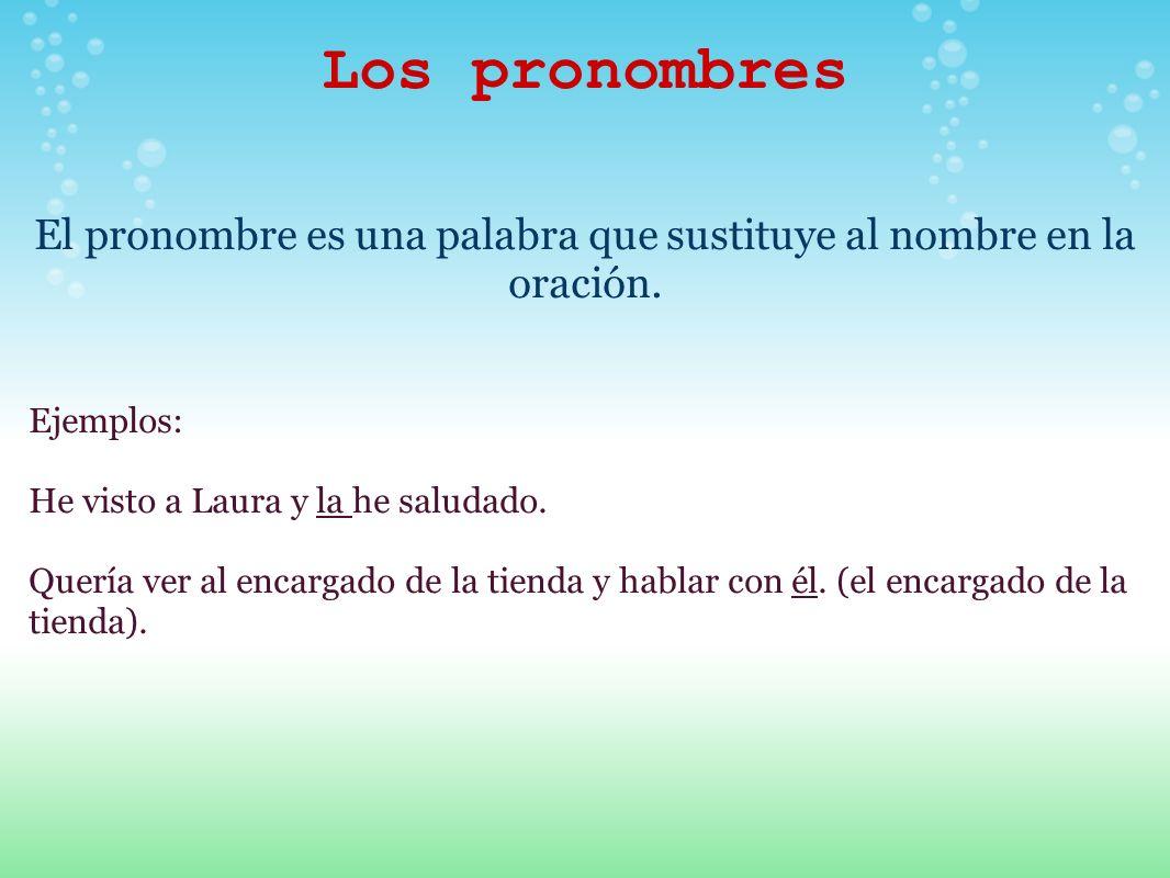 Los pronombres El pronombre es una palabra que sustituye al nombre en la oración. Ejemplos: He visto a Laura y la he saludado. Quería ver al encargado