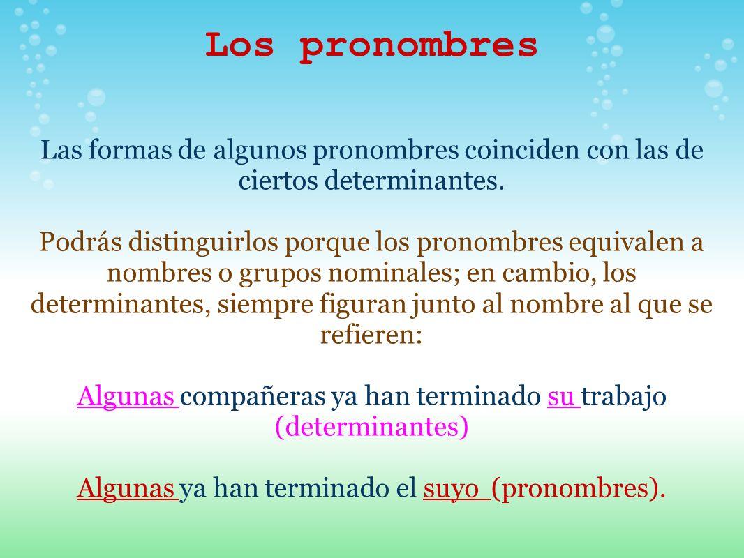 Los pronombres Las formas de algunos pronombres coinciden con las de ciertos determinantes. Podrás distinguirlos porque los pronombres equivalen a nom