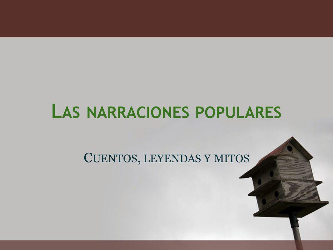 L AS NARRACIONES POPULARES C UENTOS, LEYENDAS Y MITOS