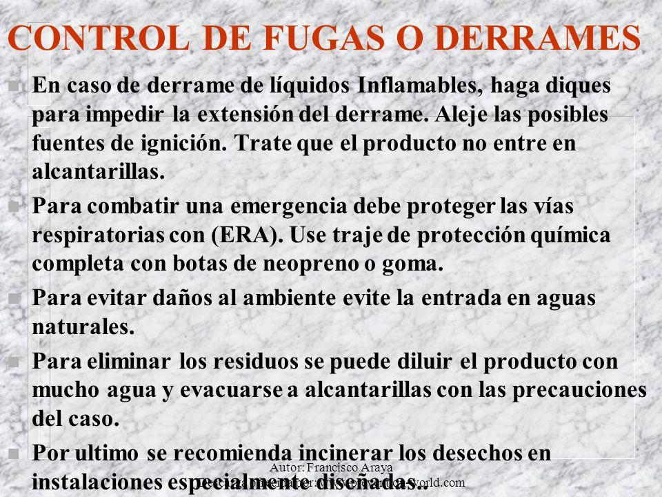Autor: Francisco Araya Descarga ofrecida por: www.prevention-world.com CONTROL DE FUGAS O DERRAMES n En caso de derrame de líquidos Inflamables, haga