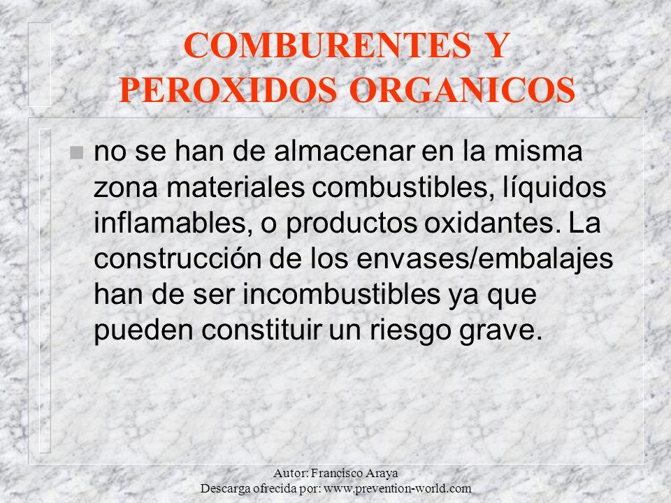 Autor: Francisco Araya Descarga ofrecida por: www.prevention-world.com COMBURENTES Y PEROXIDOS ORGANICOS n no se han de almacenar en la misma zona mat