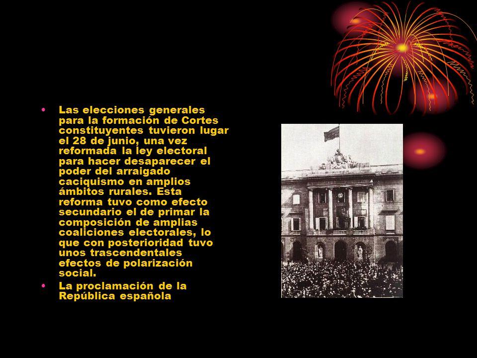 Las elecciones generales para la formación de Cortes constituyentes tuvieron lugar el 28 de junio, una vez reformada la ley electoral para hacer desap
