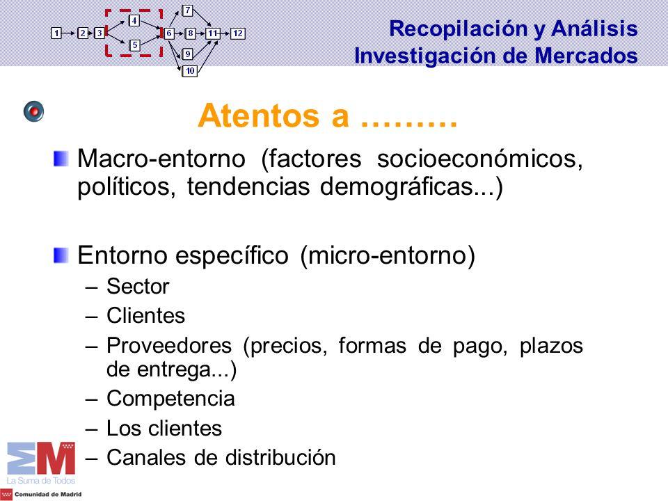 Macro-entorno (factores socioeconómicos, políticos, tendencias demográficas...) Entorno específico (micro-entorno) –Sector –Clientes –Proveedores (pre
