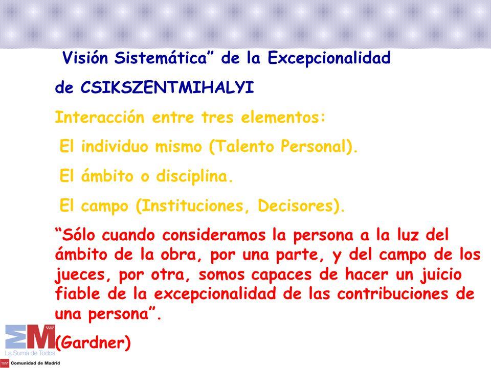 Visión Sistemática de la Excepcionalidad de CSIKSZENTMIHALYI Interacción entre tres elementos: El individuo mismo (Talento Personal). El ámbito o disc