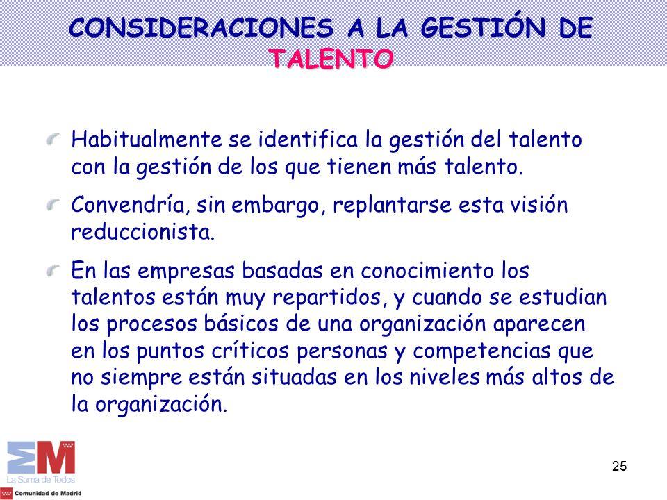 25 CONSIDERACIONES A LA GESTIÓN DE TALENTO Habitualmente se identifica la gestión del talento con la gestión de los que tienen más talento. Convendría