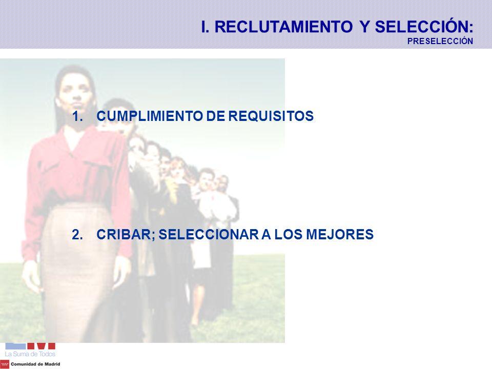 1. 1.CUMPLIMIENTO DE REQUISITOS 2. 2.CRIBAR; SELECCIONAR A LOS MEJORES I. RECLUTAMIENTO Y SELECCIÓN: PRESELECCIÓN