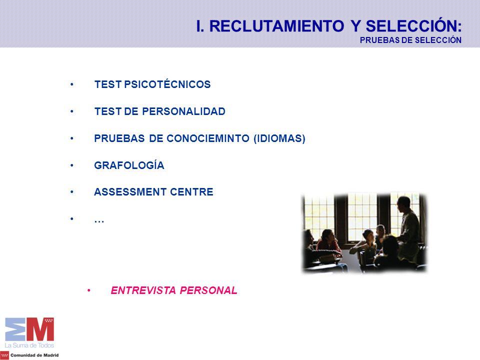 TEST PSICOTÉCNICOS TEST DE PERSONALIDAD PRUEBAS DE CONOCIEMINTO (IDIOMAS) GRAFOLOGÍA ASSESSMENT CENTRE … ENTREVISTA PERSONAL I. RECLUTAMIENTO Y SELECC