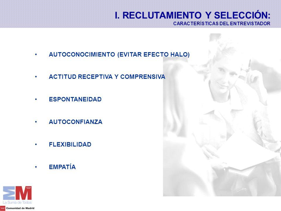 AUTOCONOCIMIENTO (EVITAR EFECTO HALO) ACTITUD RECEPTIVA Y COMPRENSIVA ESPONTANEIDAD AUTOCONFIANZA FLEXIBILIDAD EMPATÍA I. RECLUTAMIENTO Y SELECCIÓN: C