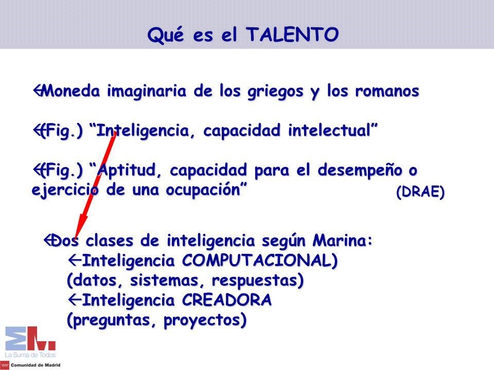 Qué es el TALENTO (DRAE) ßDos clases de inteligencia según Marina: ß Inteligencia COMPUTACIONAL) (datos, sistemas, respuestas) ß Inteligencia CREADORA