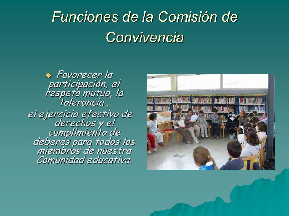 Funciones de la Comisión de Convivencia Favorecer la participación, el respeto mutuo, la tolerancia, Favorecer la participación, el respeto mutuo, la