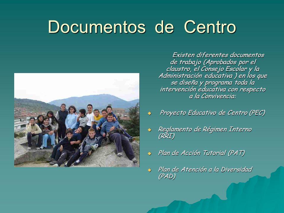 Documentos de Centro Existen diferentes documentos de trabajo (Aprobados por el claustro, el Consejo Escolar y la Administración educativa ) en los qu