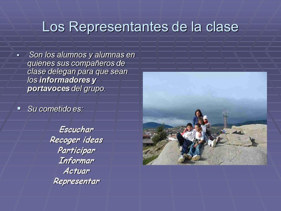 Los Representantes de la clase Son los alumnos y alumnas en quienes sus compañeros de clase delegan para que sean los informadores y portavoces del gr