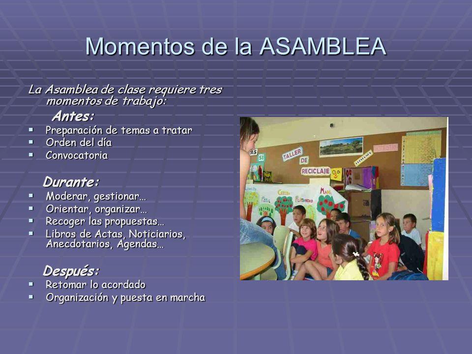 Momentos de la ASAMBLEA La Asamblea de clase requiere tres momentos de trabajo: Antes: Antes: Preparación de temas a tratar Preparación de temas a tra