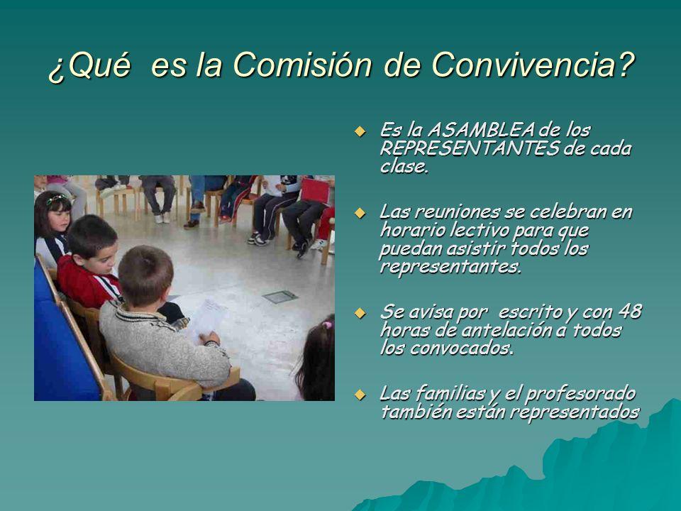 ¿Qué es la Comisión de Convivencia? Es la ASAMBLEA de los REPRESENTANTES de cada clase. Es la ASAMBLEA de los REPRESENTANTES de cada clase. Las reunio