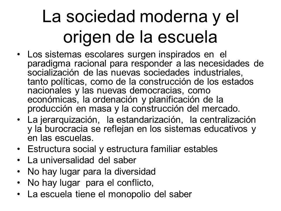 La sociedad moderna y el origen de la escuela Los sistemas escolares surgen inspirados en el paradigma racional para responder a las necesidades de so