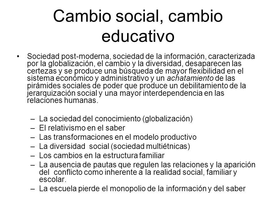 Cambio social, cambio educativo Sociedad post-moderna, sociedad de la información, caracterizada por la globalización, el cambio y la diversidad, desa