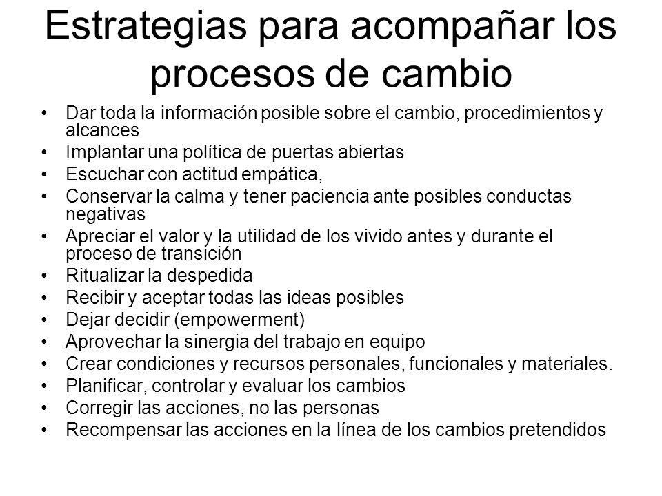 Estrategias para acompañar los procesos de cambio Dar toda la información posible sobre el cambio, procedimientos y alcances Implantar una política de