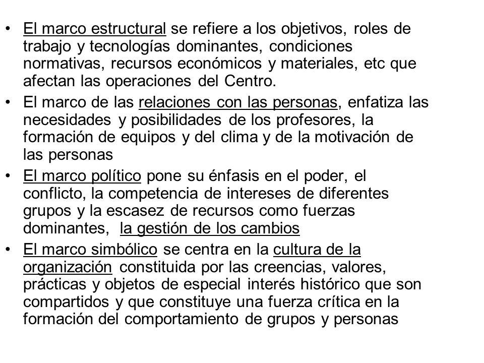 El marco estructural se refiere a los objetivos, roles de trabajo y tecnologías dominantes, condiciones normativas, recursos económicos y materiales,