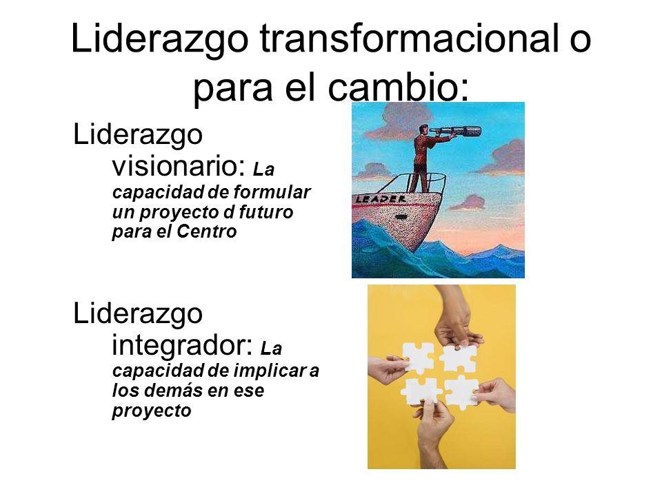 Liderazgo transformacional o para el cambio: Liderazgo visionario: La capacidad de formular un proyecto d futuro para el Centro Liderazgo integrador: