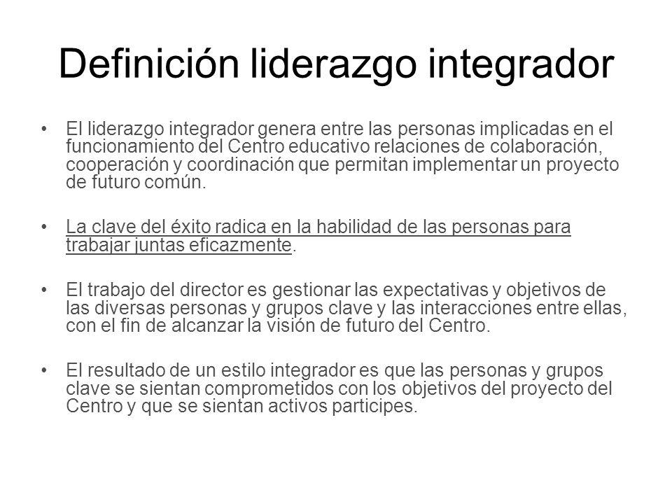 Definición liderazgo integrador El liderazgo integrador genera entre las personas implicadas en el funcionamiento del Centro educativo relaciones de c