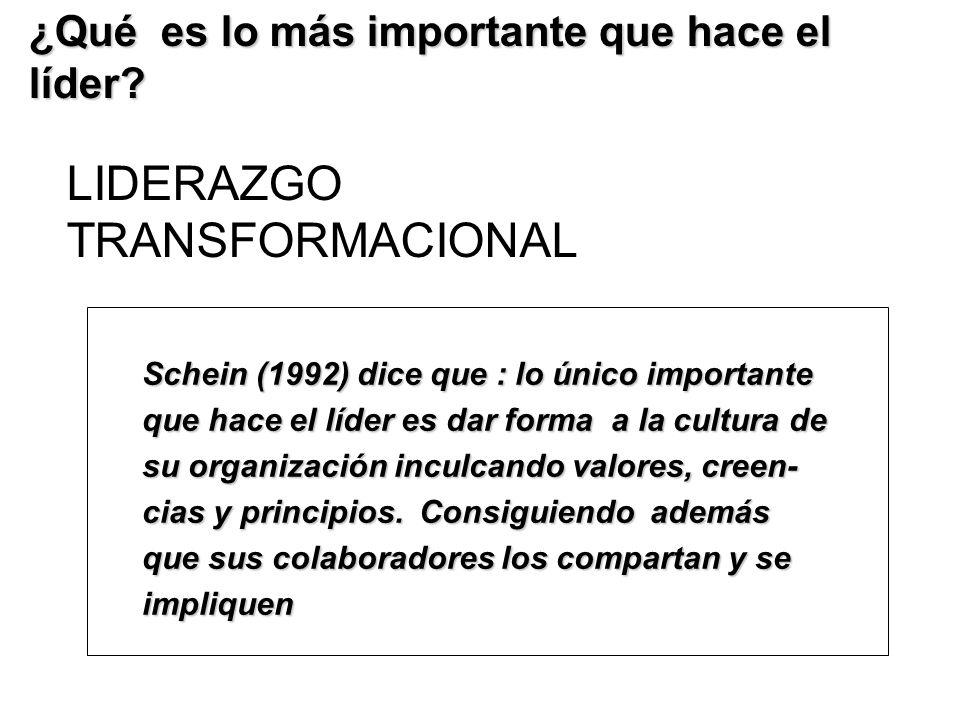 LIDERAZGO TRANSFORMACIONAL ¿Qué es lo más importante que hace el líder? Schein (1992) dice que : lo único importante que hace el líder es dar forma a
