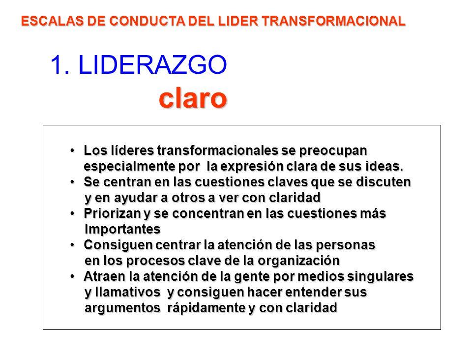 claro 1. LIDERAZGO claro ESCALAS DE CONDUCTA DEL LIDER TRANSFORMACIONAL Los líderes transformacionales se preocupan especialmente por la expresión cla