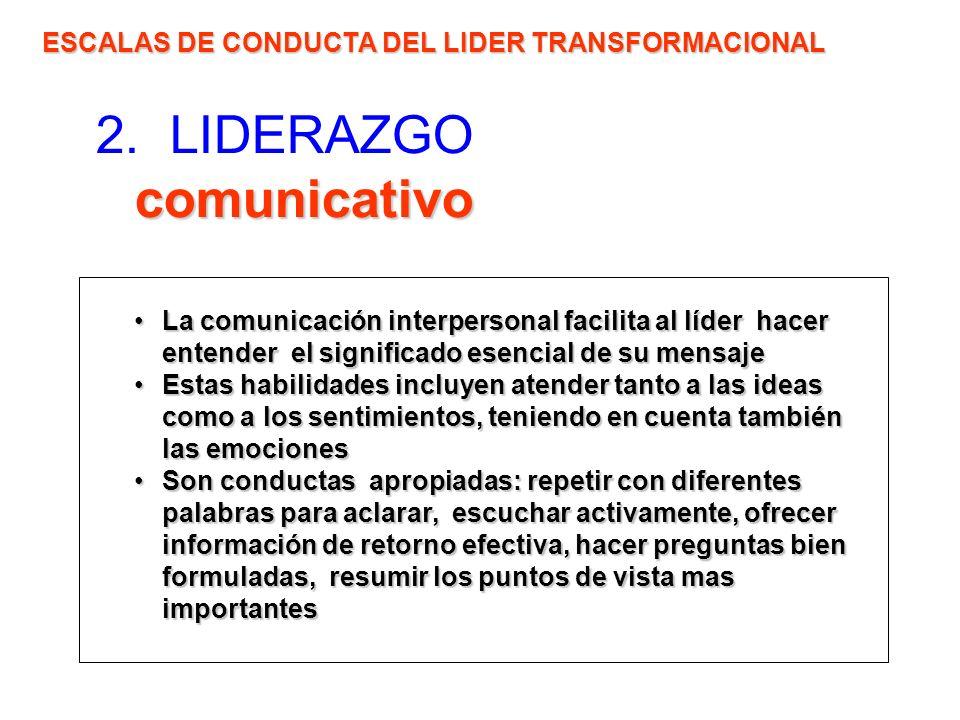 comunicativo 2. LIDERAZGO comunicativo ESCALAS DE CONDUCTA DEL LIDER TRANSFORMACIONAL La comunicación interpersonal facilita al líder hacer entender e