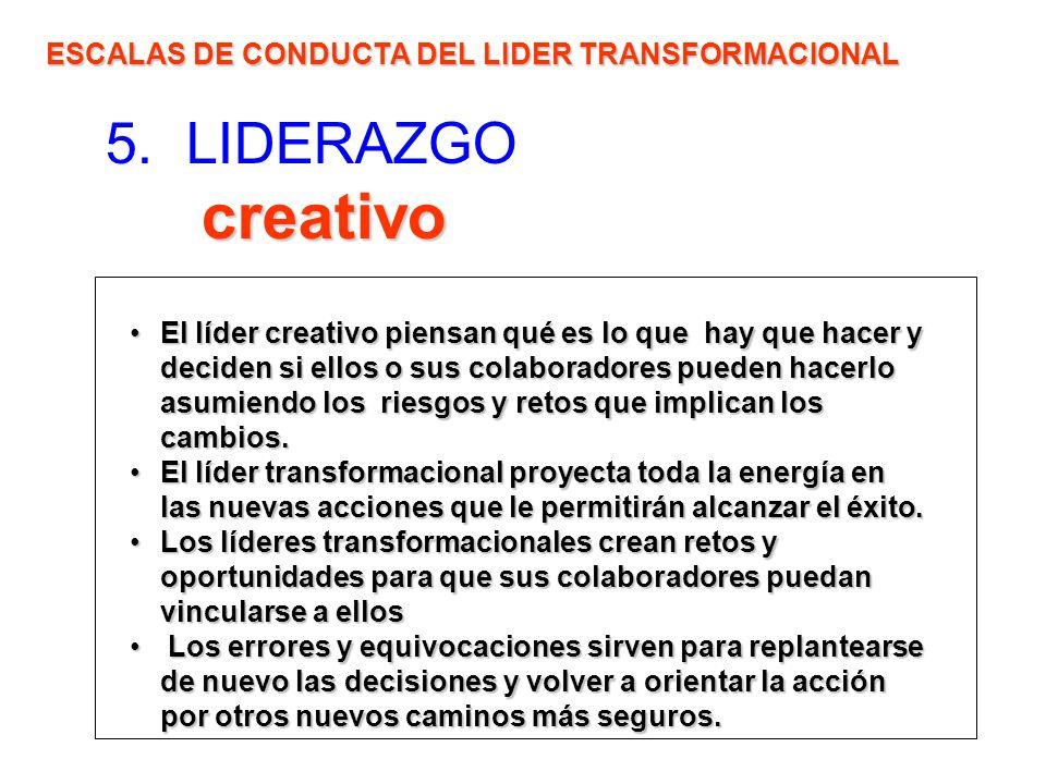 creativo 5. LIDERAZGO creativo ESCALAS DE CONDUCTA DEL LIDER TRANSFORMACIONAL El líder creativo piensan qué es lo que hay que hacer y deciden si ellos