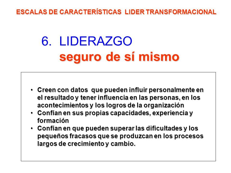 seguro de sí mismo 6. LIDERAZGO seguro de sí mismo ESCALAS DE CARACTERÍSTICAS LIDER TRANSFORMACIONAL Creen con datos que pueden influir personalmente
