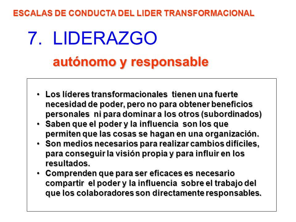 autónomo y responsable 7. LIDERAZGO autónomo y responsable ESCALAS DE CONDUCTA DEL LIDER TRANSFORMACIONAL Los líderes transformacionales tienen una fu