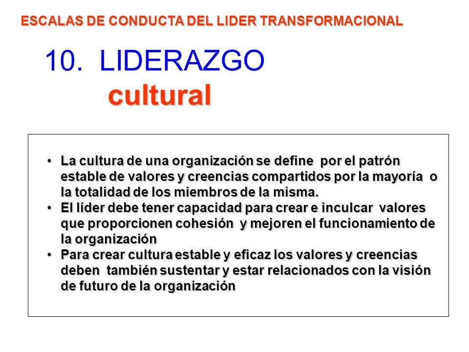 cultural 10. LIDERAZGO cultural ESCALAS DE CONDUCTA DEL LIDER TRANSFORMACIONAL La cultura de una organización se define por el patrón estable de valor
