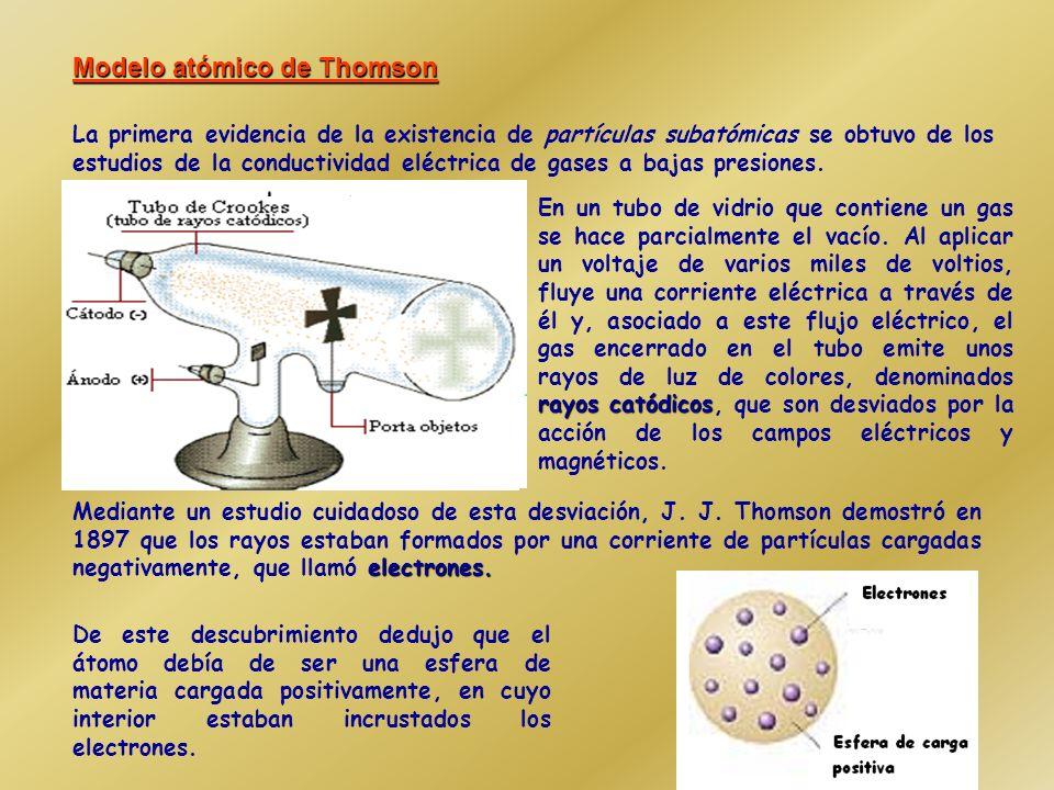 Modelos atómicos clásicos (Thomson, 1897) Ernest Rutherford (1911) Demostró que dentro de los átomos hay unas partículas diminutas, con carga eléctrica negativa, a las que se llamó electrones Propuso un modelo planetario