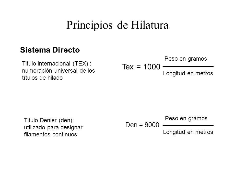 Sistema Directo Titulo internacional (TEX) : numeración universal de los títulos de hilado Tex = 1000 Peso en gramos Longitud en metros Titulo Denier (den): utilizado para designar filamentos continuos Den = 9000 Peso en gramos Longitud en metros