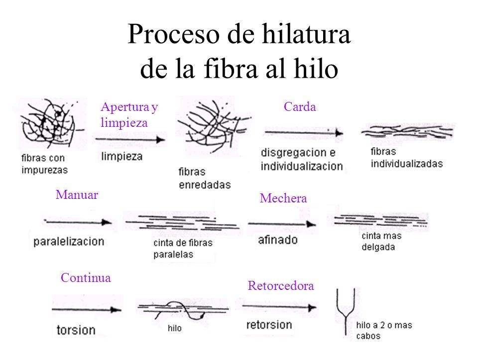 Proceso de hilatura de la fibra al hilo CardaApertura y limpieza Manuar Mechera Continua Retorcedora