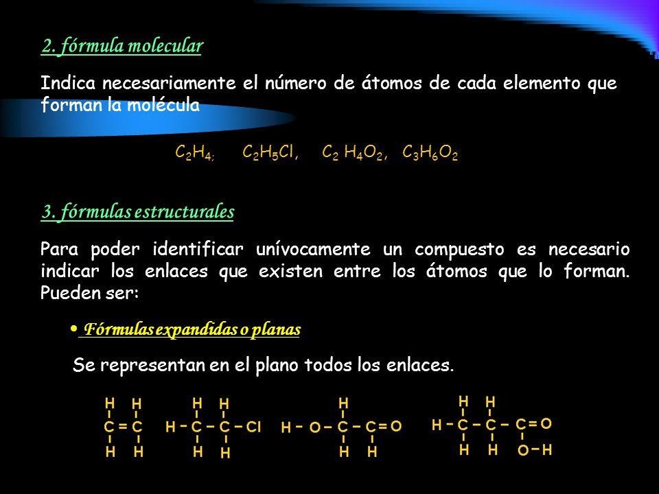 2. fórmula molecular Indica necesariamente el número de átomos de cada elemento que forman la molécula 3. fórmulas estructurales Para poder identifica