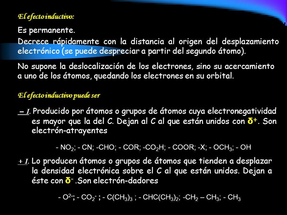 Es permanente. – I. Producido por átomos o grupos de átomos cuya electronegatividad es mayor que la del C. Dejan al C al que están unidos con δ +. Son
