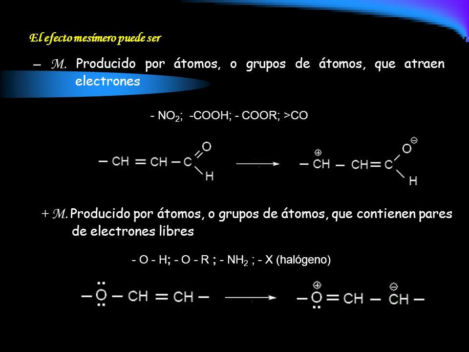 – M. Producido por átomos, o grupos de átomos, que atraen electrones El efecto mesímero puede ser + M. Producido por átomos, o grupos de átomos, que c