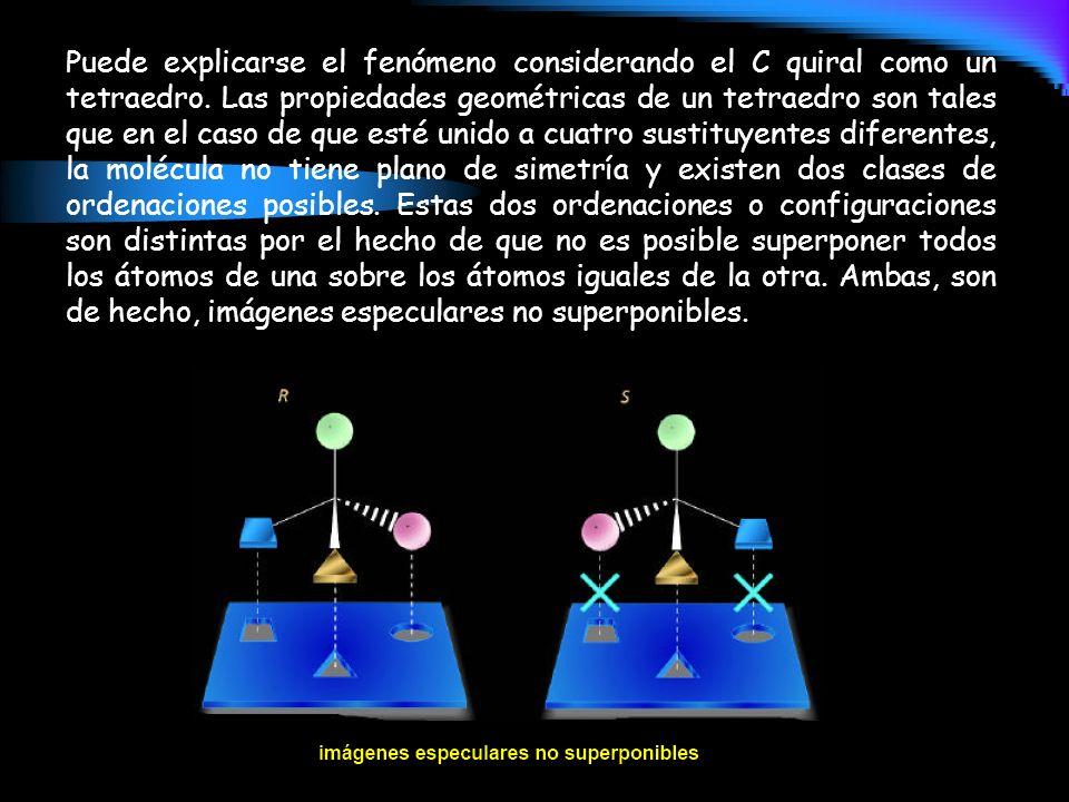 Puede explicarse el fenómeno considerando el C quiral como un tetraedro. Las propiedades geométricas de un tetraedro son tales que en el caso de que e