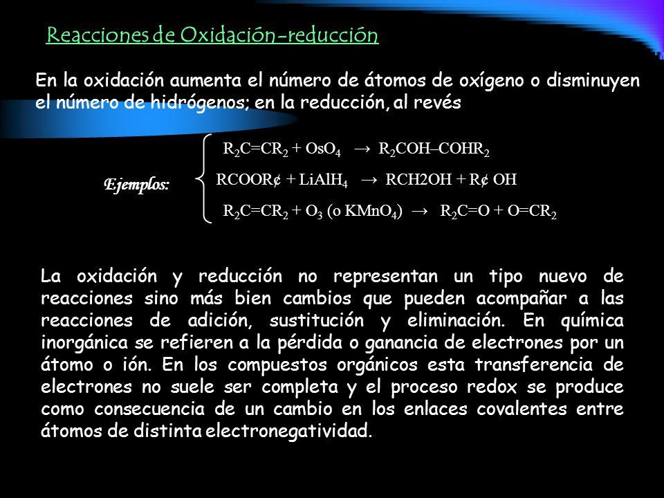 Reacciones de Oxidación-reducción En la oxidación aumenta el número de átomos de oxígeno o disminuyen el número de hidrógenos; en la reducción, al rev